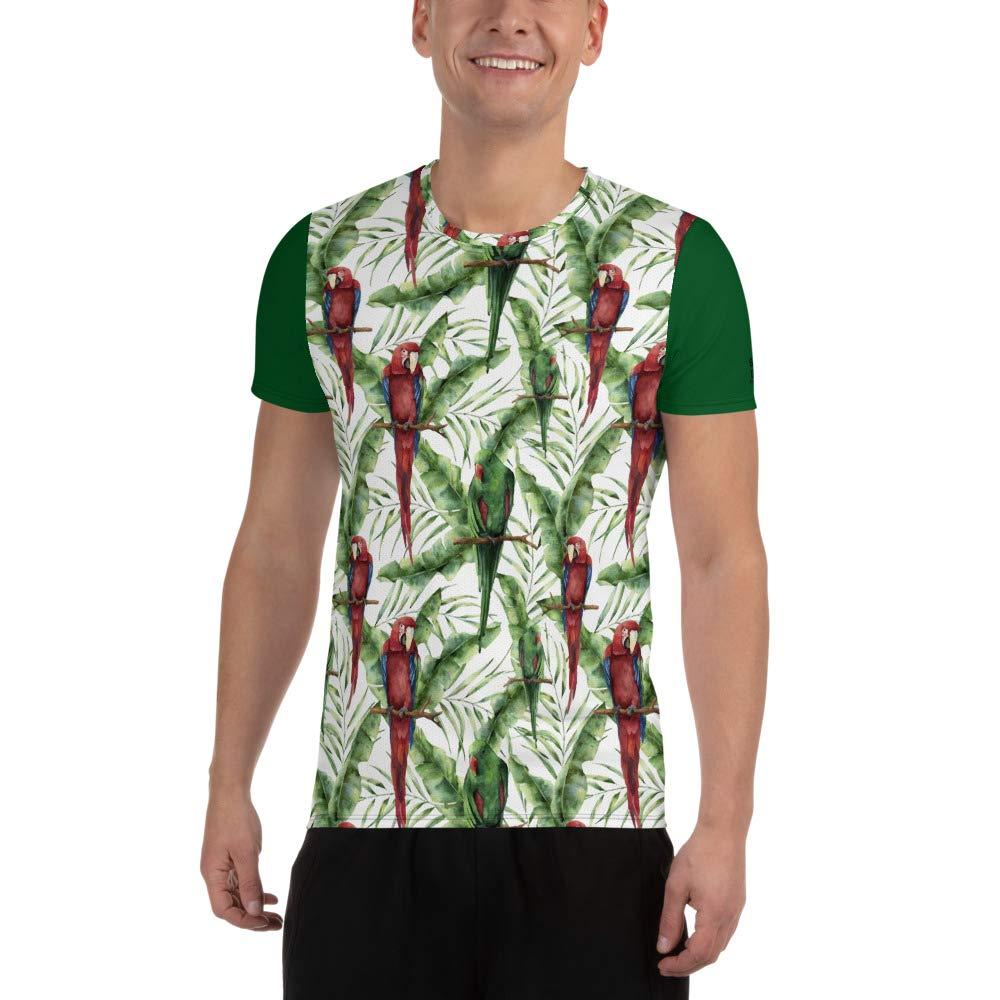 Tropical Birds All-Over Print Mens Athletic T-Shirt Hawaiian Vacation