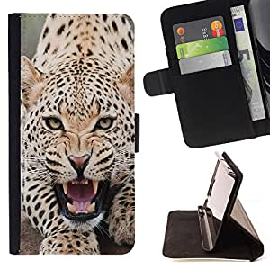 DEVIL CASE - FOR HTC One M7 - Leopard Angry Roar Spots Furry Animal - Style PU Leather Case Wallet Flip Stand Flap Closure Cover