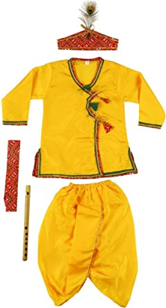 fa1839922 Little Palz Kanha Dhoti Kurta Angrakha Krishna Kids Costume Wear Dress Set  for Children (Pack