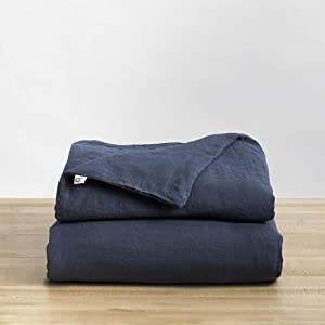 Natural Linen Duvet Cover from Baloo, Removable Cover for Weighted Blankets - Soft, Premium, Breathable French Linen, 60x80 inches, Navy Blue