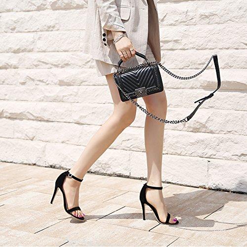 Eu34 Satén Fino Toe EU38 SHOESHAOGE Hebilla De Mujer Negro De con Heel Ranurado Hembra High Zapatos Dew Zapatos Sandalias TxAFx0
