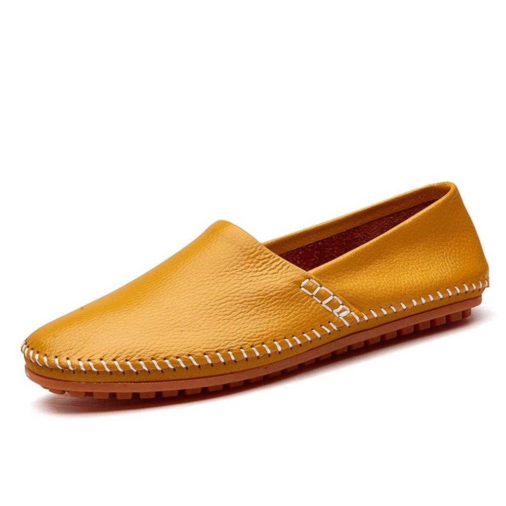 Slip on Loafers de los Hombres del Cuero de la PU Noble Cómodo Color Puro Manera de conducción Mocasines del Barco Zapatos Casuales 44 EU Amarillo