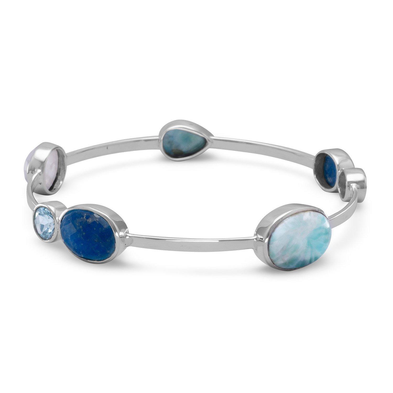 Larimar, Blue Topaz, Dyed Aquamarine, and Rainbow Moonstone Stackable Bangle Bracelet Sterling Silver