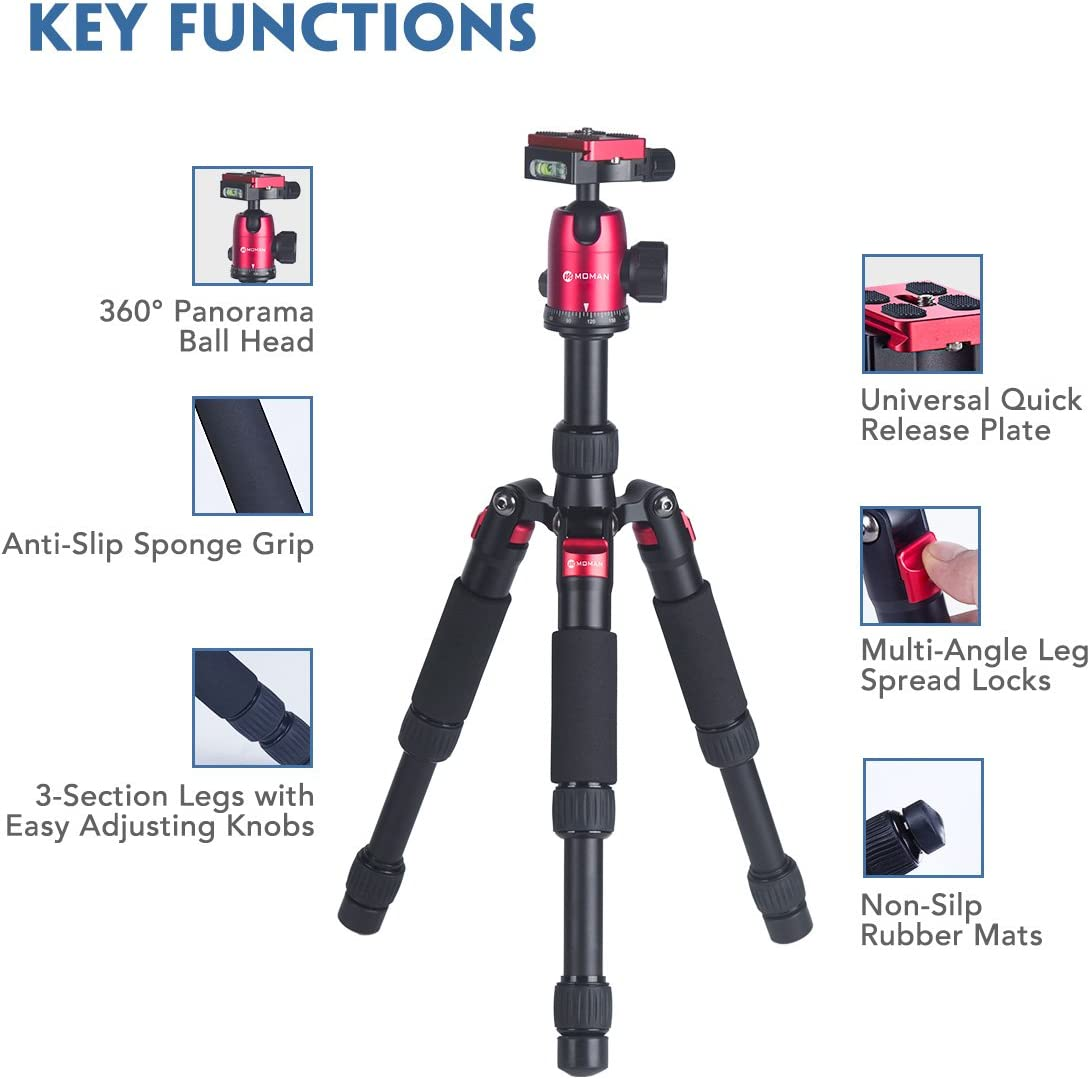 CNC Aluminium Capacity of 22 Lb Portable Mini Tripod for DSLR Camera with 360 Ball Head for Macro Photography Moman DT-02 5.9 to 20.5 Inch Flexible and 2.1 Lbs Lightweight