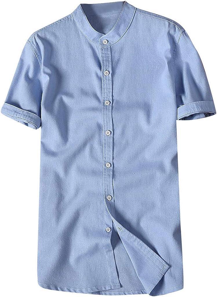 MOTOCO Camisa de Hombre Tops Algodón y Lino de Verano Sólido de Manga Corta O-Cuello Botón Escote Casual Loose Hombre de Gran tamaño Blusa(XL, Azul-1): Amazon.es: Ropa y accesorios