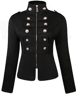 JOKHOO Womens Zip Front Stand Collar Military Light Jacket Zip Up Blazers