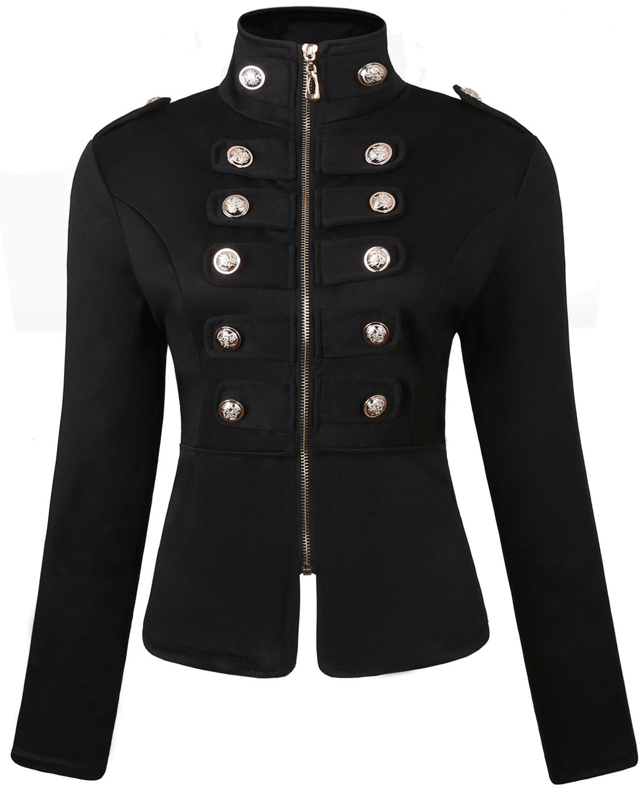 JOKHOO Women's Zip Front Stand Collar Military Light Jacket Zip Up Blazers (Black, XL1)