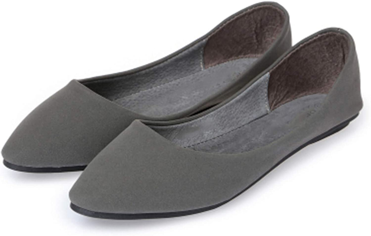 Mary Steele Spring and Autumn Womens Loafers Flat Heel Shoes Boat Shoes Casual Grey