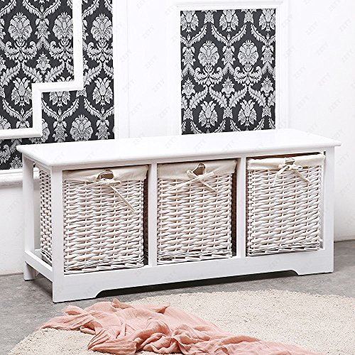 White Shabby Cupboard Cabinet Table Wicker Wood Basket Storage with 3 Drawers by ()