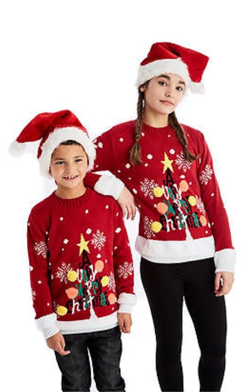 8055 605 | Filles et garçons Chandail de Noël X-MAS 3D Pom Pom Rudolph Santa Nouveauté (An - 7/8, 3D Arbre de Noël Rouge)