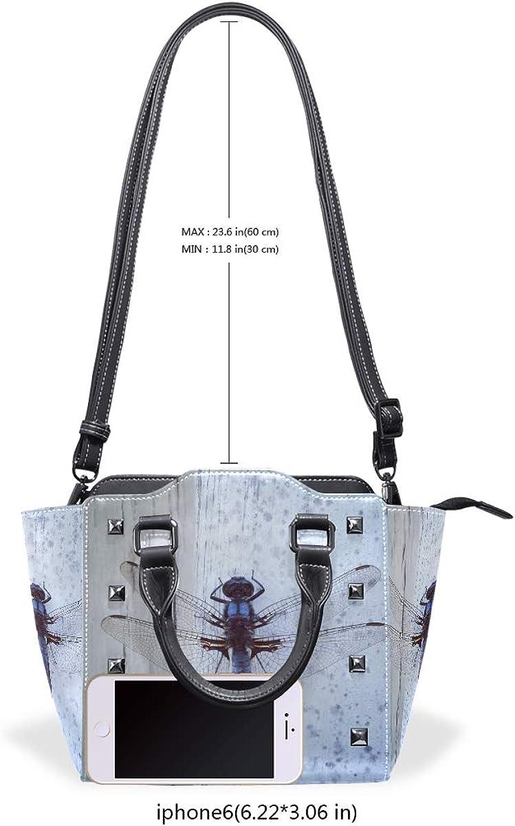 Blue Dragonfly Art Genuine Leather Handbags Purses Shoulder Tote Satchel Bags Womens