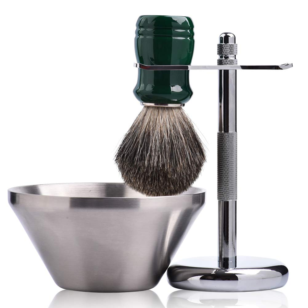 Je&Co Shaving Set,Pure badger Hair Shaving Brush with Steel Stand and Steel Bowl