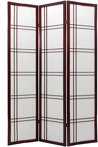 ORIENTAL Furniture Asian Decor 6-Feet Double Sided Shoji Privacy Screen Room Divider, 6 Panel Rosewood