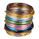PandaHall Elite 10 Rolls Aluminum Craft Wire 15 Guage Flexible Artistic Floral Jewely Beading Wire 10 Colors for DIY Jewelry Craft Making Each Roll 19 Feet