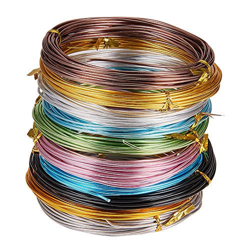 PandaHall Elite 10 Rolls Aluminum Craft Wire 15 Guage Flexible Artistic Floral Jewely Beading Wire 10 Colors for DIY Jewelry Craft Making Each Roll 19 Feet by PH PandaHall