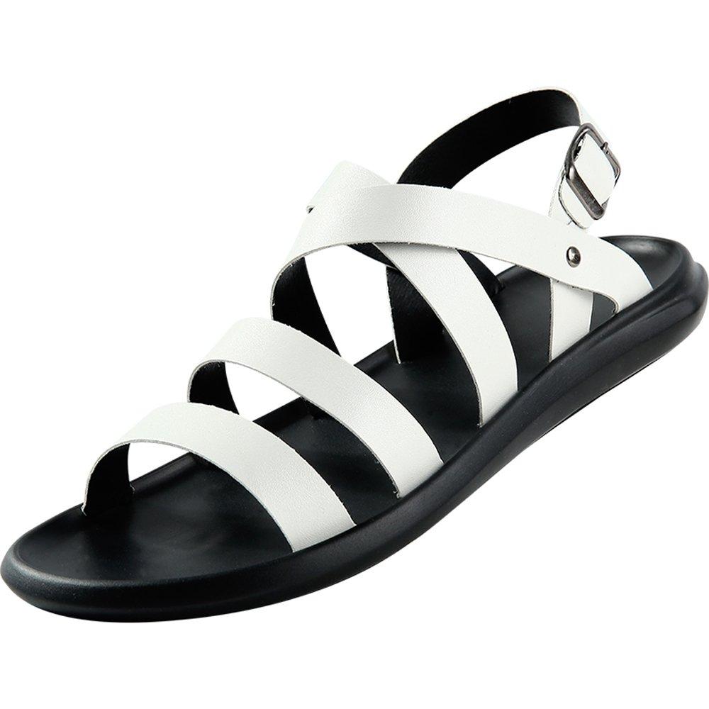 GAOLIXIA Herrenschuhe PU Sommer Komfort Sandalen Wanderschuhe für Casual Schwarz Gelb Weiß Braun (Farbe   Weiß, Größe   39)