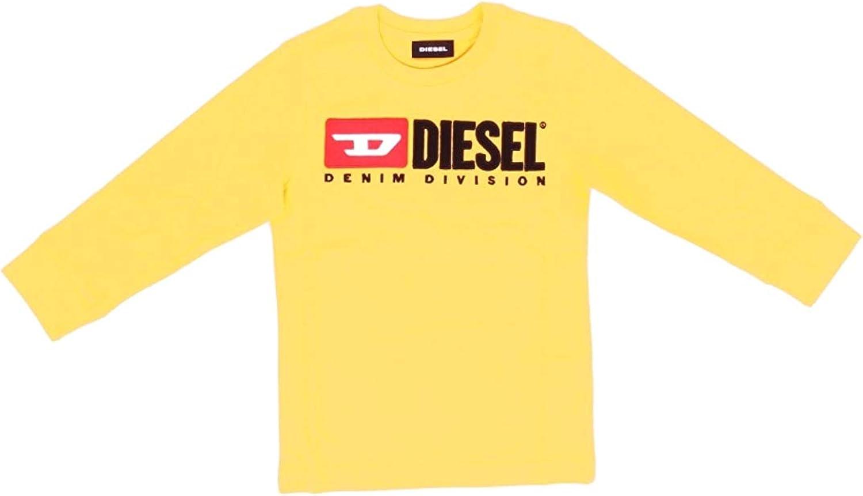 Diesel T-Shirt Unisex a Maniche Lunghe con Logo TJUSTDIVISION 00J4KF