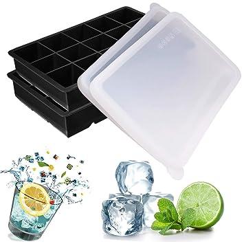 Dokpav 2PCS 3.3*3.3cm- 30 Würfel Eiswürfel, Silikon Eiswürfelbehälter Mit Deckel, Silikon Eiswürfelform, Eiskugelform, DIY Ei
