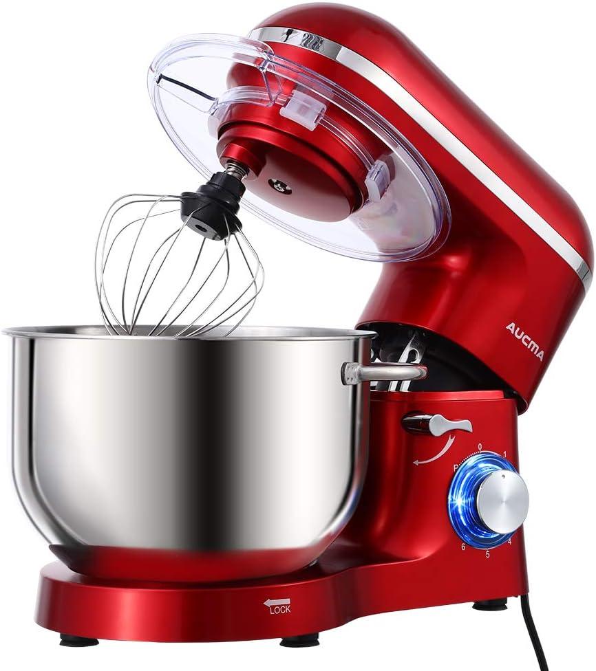 Aucma Stand Mixer,6.5-QT 660W 6-Speed Tilt-Head Food Mixer, Kitchen Electric Mixer with Dough Hook