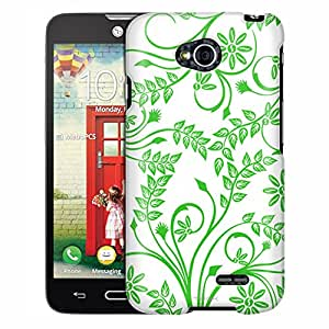 LG Optimus Exceed 2 Case, Slim Fit Snap On Cover by Trek Twigs Flowers Green on White Case