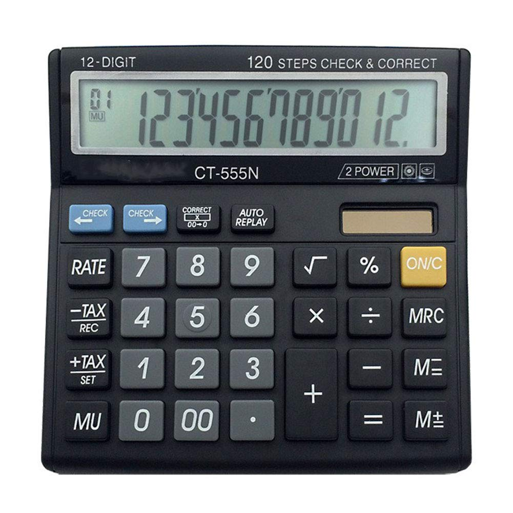 Ocamo Portable Solar Battery Dual Power Desktop Calculator with Large LCD Display and Large Buttons (Battery Included) School Office Supplies