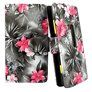 Cellularvilla (Tm) Case for Nokia Lumia 920 Black Pink Flower PU Leather Wallet Card Flip Open Case Cover Pouch. (Only Fit Nokia Lumia 920)