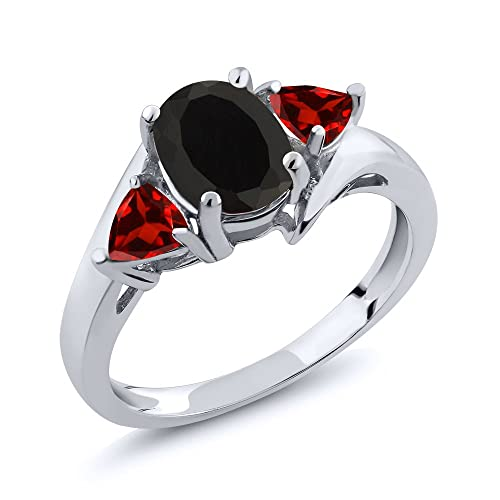 Gem Stone King Black Onyx and Red Garnet 925 Sterling Silver 3-Stone Women s Ring 1.93 Ct Oval Available 5,6,7,8,9