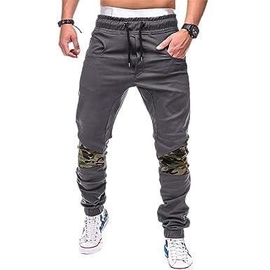 Timagebreze Hombres Moda Camuflaje Patchwork Pantalones Harem ...