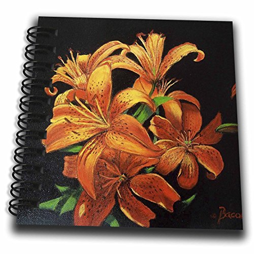 (3dRose Bright Orange Speckled Tiger Lilies Floating on Black.-Mini Notepad, 4 by 4