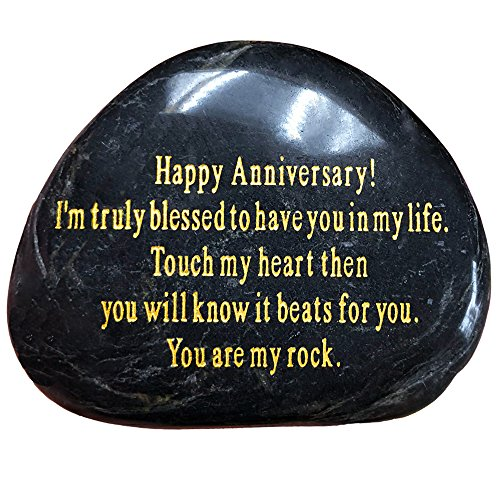 Anniversary Gift''Happy Anniversary!I'm truly blessed to have you in my life.Touch my heart then you will know it beats for you,You are my rock.'' Engraved Rock, Anniversary Gifts for Men or Women. by Running Ant
