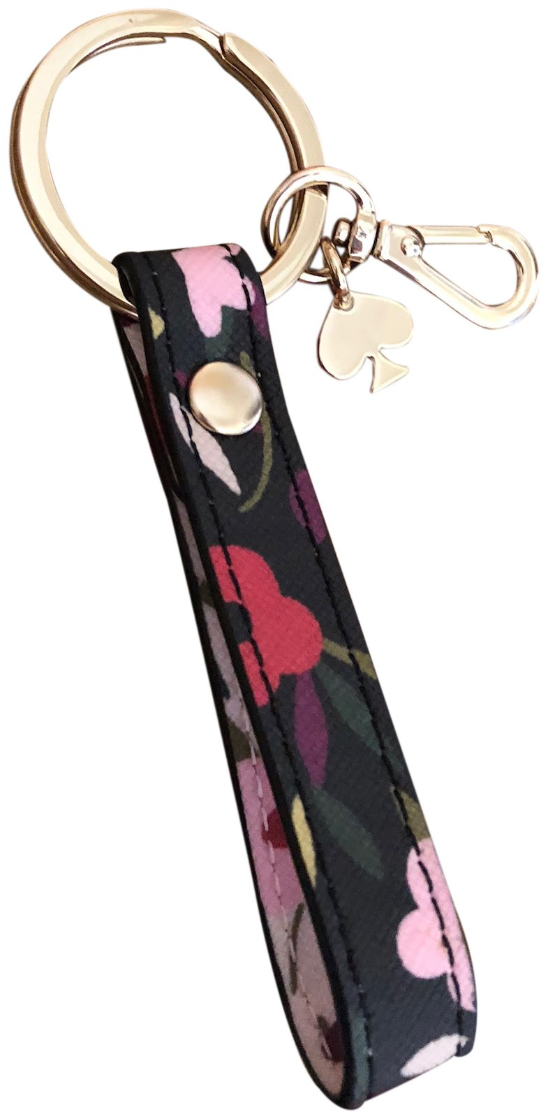 Kate Spade New York Saffiano Leather Strap Key Chain Ring Key Fob Black Multi