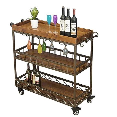 Amazon.com: Carrito de servir con soporte de cristal de vino ...