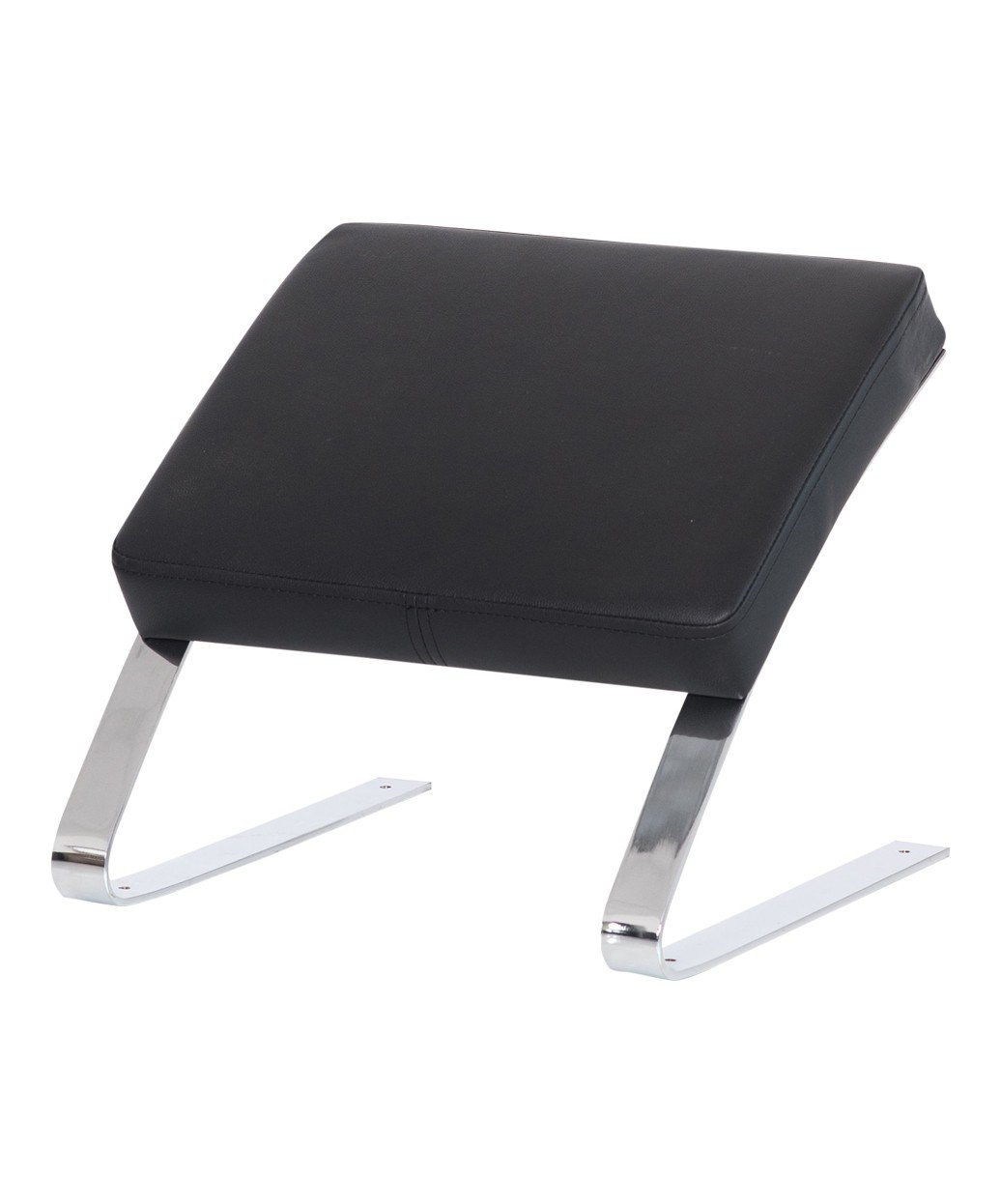 Deluxe Footrest Ottoman for Salons, Stylists and Spa Backwash Systems, Features Ergonomic Angle for Comfort, Padded Black Cushion, Sleek Chrome Legs, TS-0807