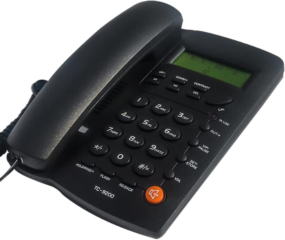 KerLiTar K-P032B Home Office Phone with Speakerphone Landline Corded Phone with Caller ID Desk Phone with Alarm Clock Calculator Basic Telephones Landline(Black)