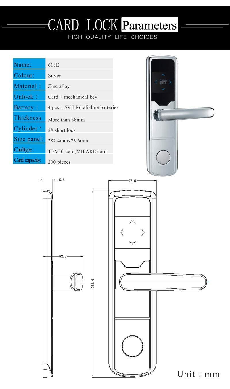 XISAY-Smat Smart Lock,New Design Gold Electronic Door Lock Keyless RFID Smart Card Door Lock For Hotel Home Office ZAG1008