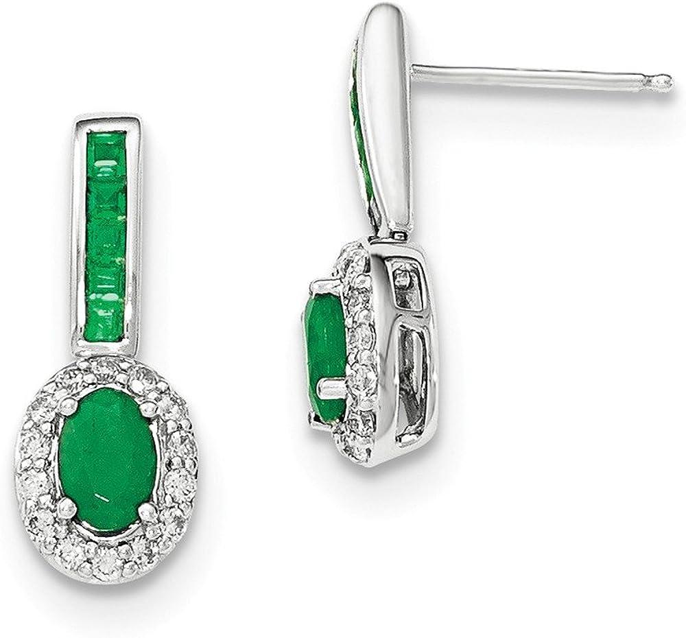 14KW Diamante y Esmeralda w/Halo Post pendientes colgantes/de diamante de quilate. 0.364, Gem quilates. 1,35