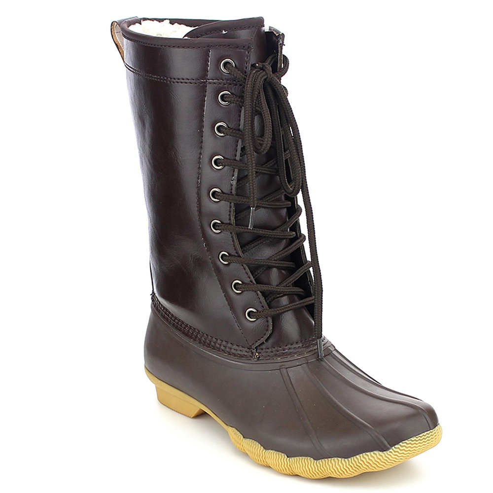 Refresh Hunter Women's Waterproof Rubber Rain Skimmers Duck Boots B01MTTT4EY 11 B(M) US|Brown