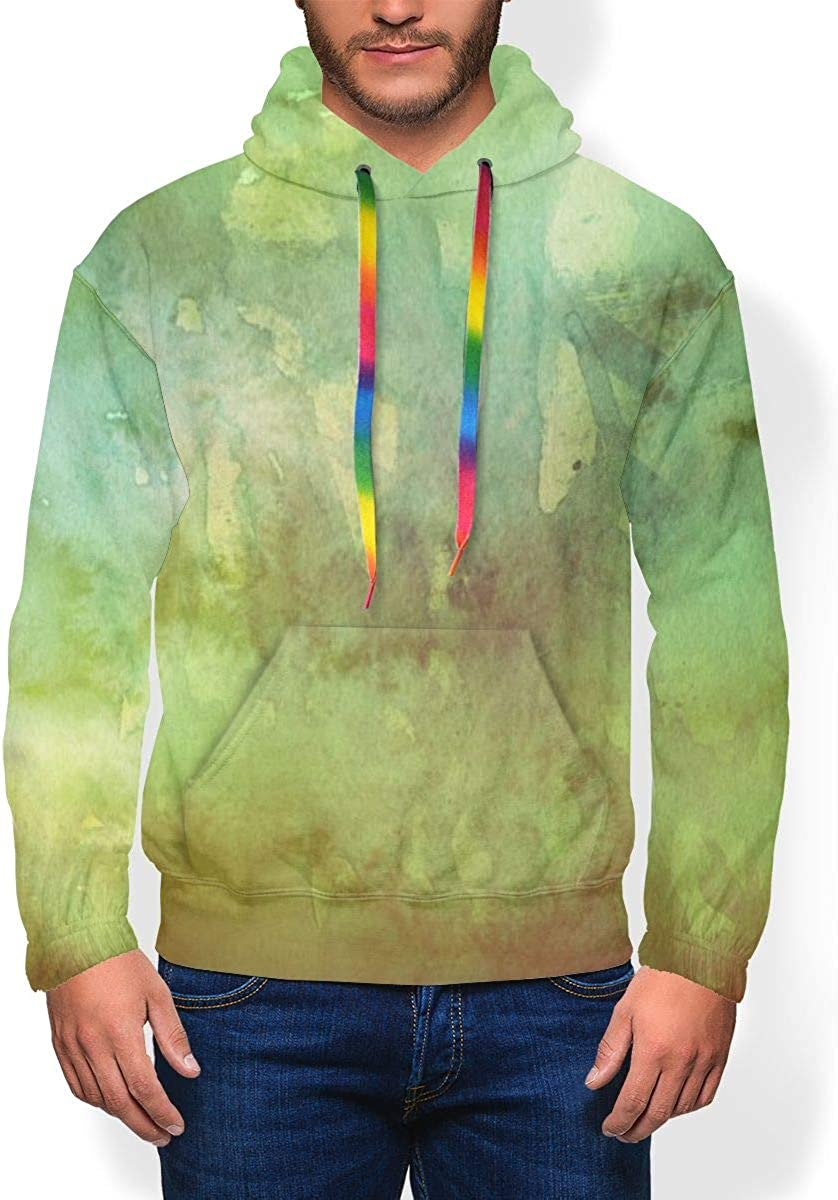Colourful Grassland Green Mens Thick and Velvet Hoodies