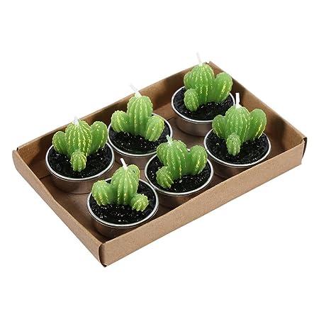GZQ 6 Velas Decorativas sin Llama Verde Plantas Velas para ...