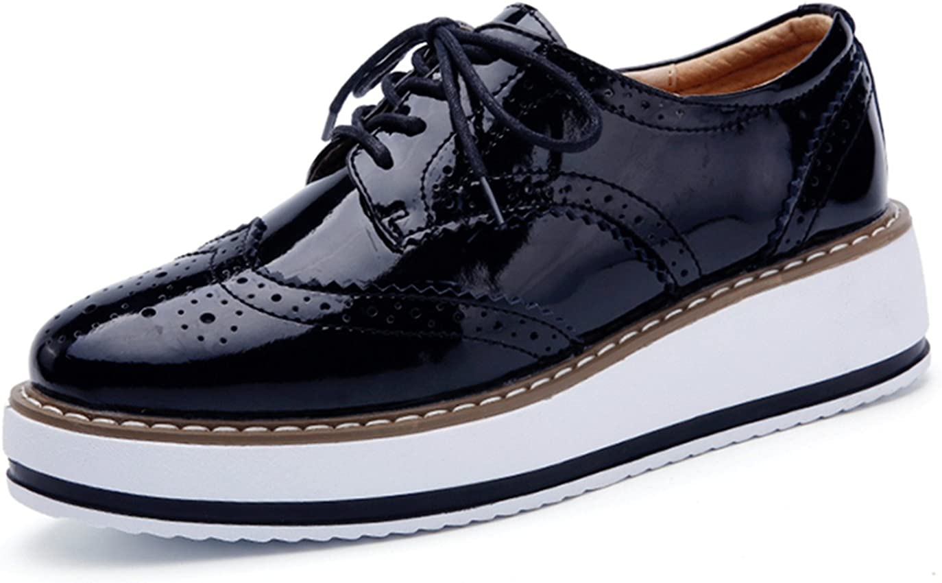 DADAWEN Women's Platform Lace-Up Wingtips Square Toe Oxfords Shoe