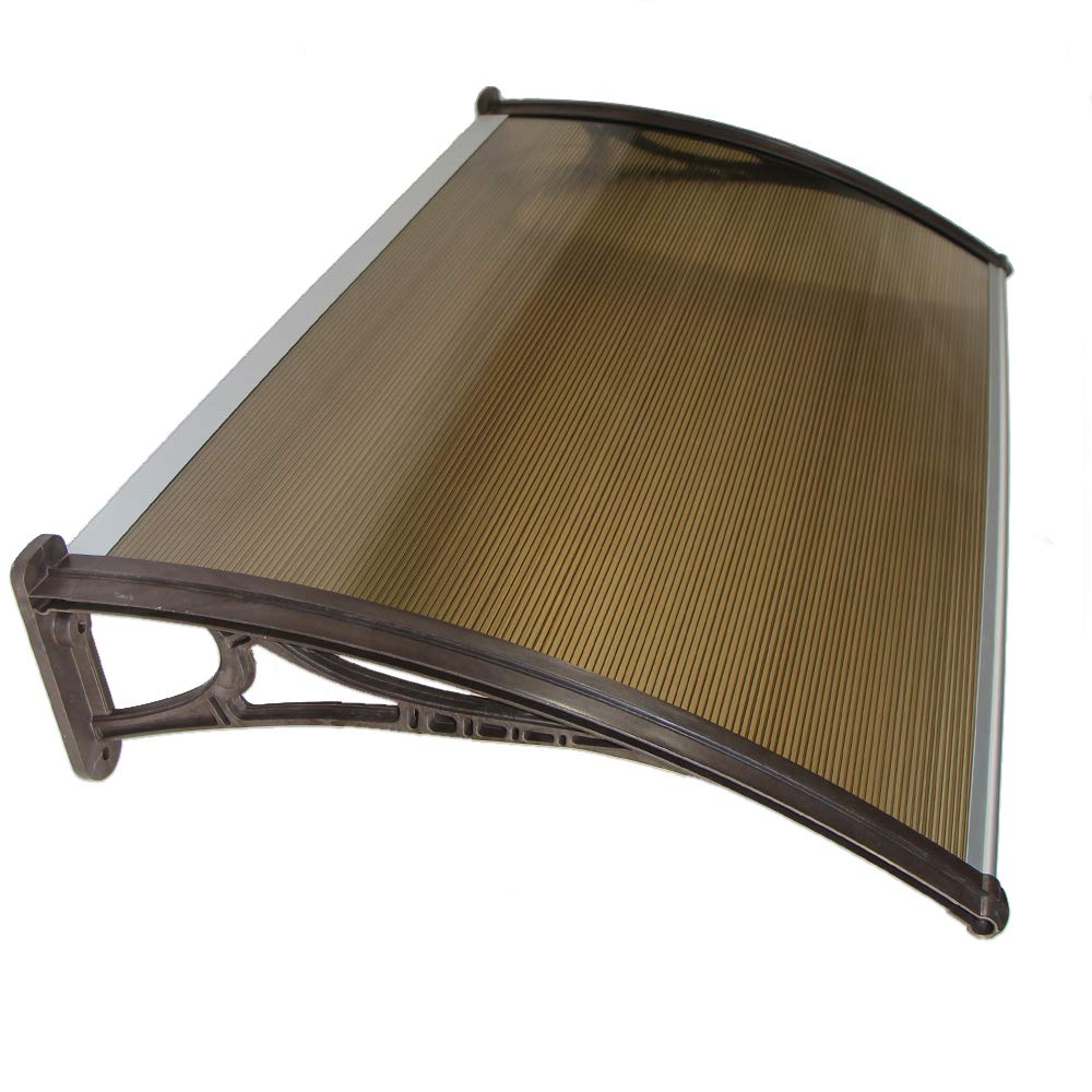 Polycarbonate Window Door Canopy Awning DIY kit, Pearl, Tinted Brown corrugated cover board, Brown brackets, 4ft x 2.5ft