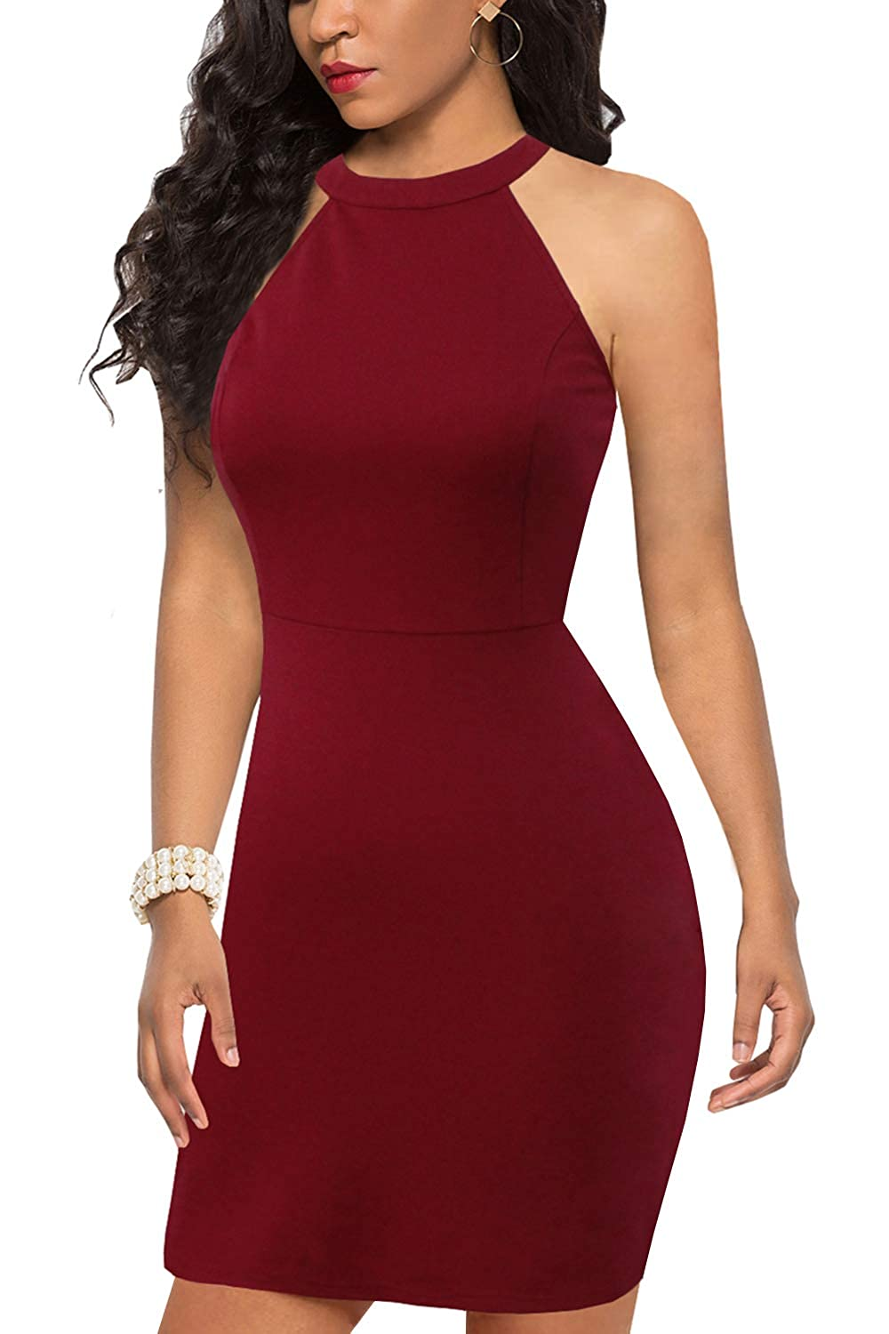 8c0d80aa6a26 Liyinxi Women s Sexy Halter Neck Sheath Bodycon Sleeveless Backless  Cocktail Party Wrap Mini Lace Pencil Dress at Amazon Women s Clothing store