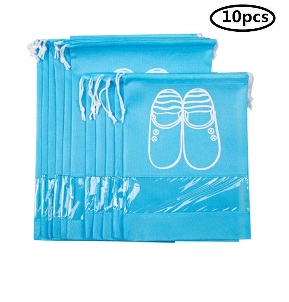 YUMMAYEE 10 Pcs Dust-proof Shoe Bags Drawstring with Window Travel Shoe Storage Bags Shoes Organizer Light Blue by YUMMAYEE (Image #2)