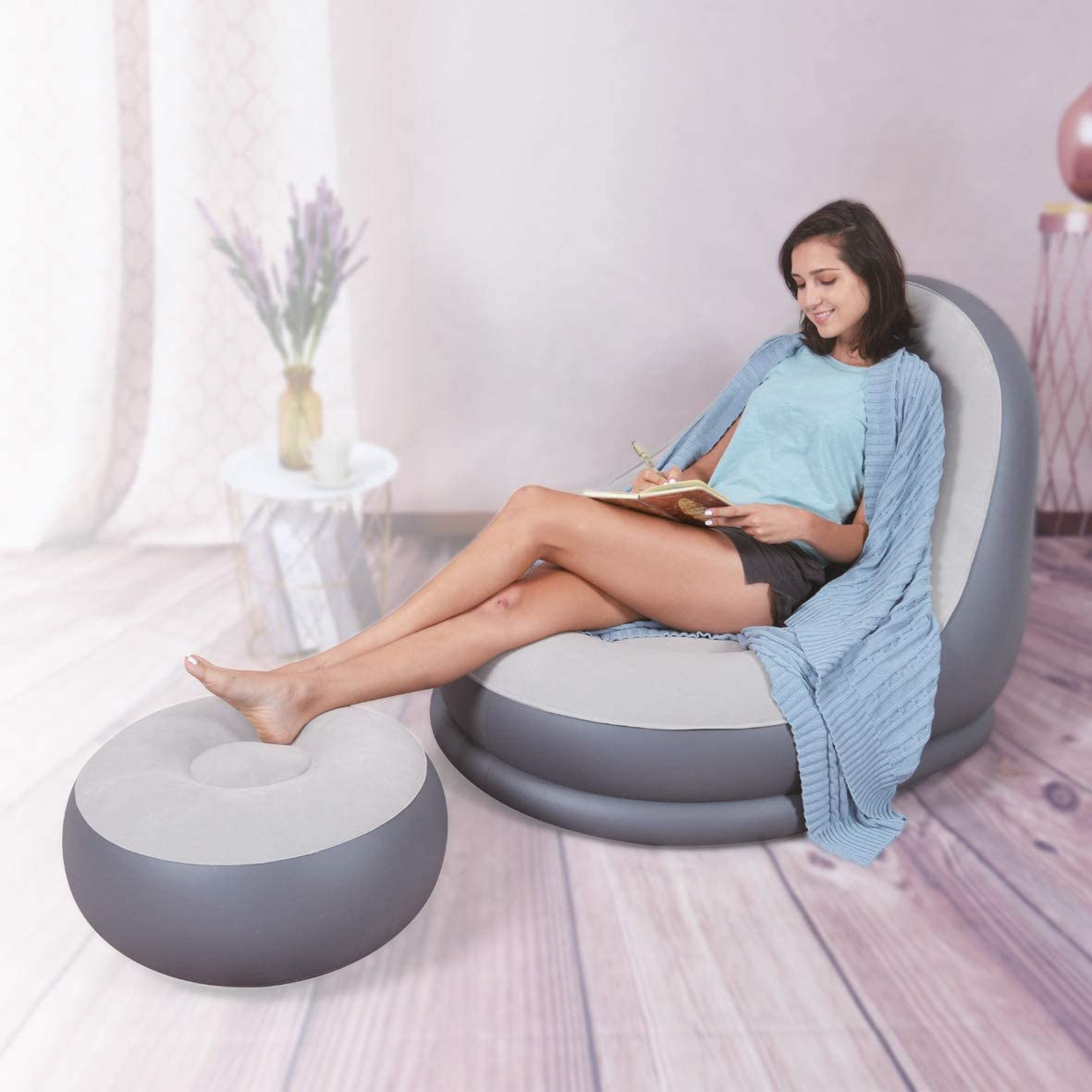 New Inflatable Deluxe Lounger /& Footstool Seat Relax Couch Ottoman Chair Lounge Fineway