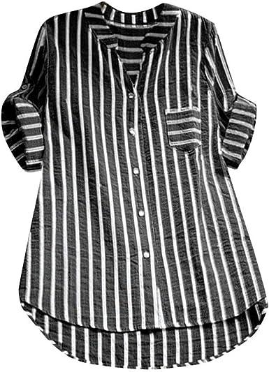 JURTEE Camiseta De Solapa para Mujer Talla Grande Casual Cuello En V Rayas Botón Camisa Holgadas Tops Blusa De Verano: Amazon.es: Ropa y accesorios