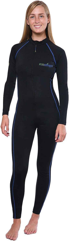 EcoStinger Women Full Body Swimsuit Sun Protective Stinger Suit Dive Skin UPF50 Black Royal Stitch