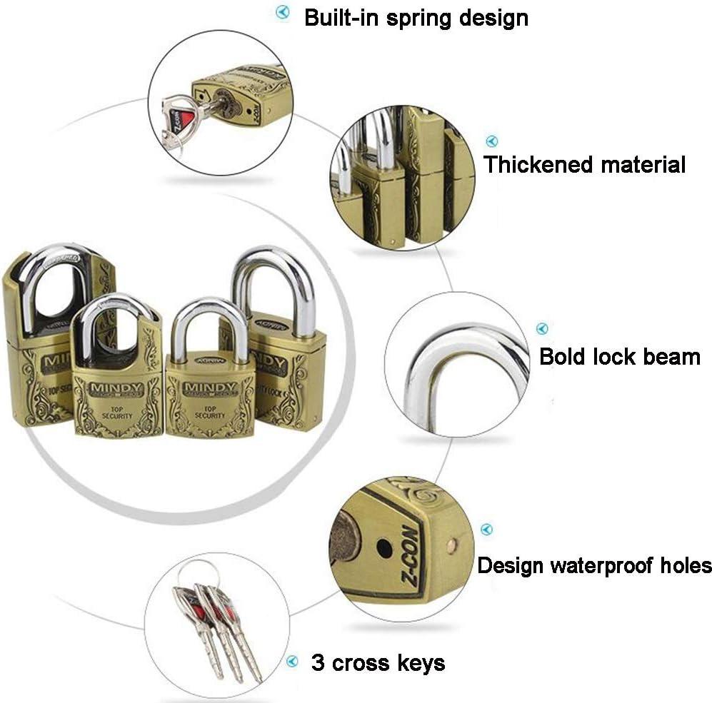 MUMA 40mm//50mm Padlock Antique Copper, Thicken Antirust Anti-theft Reinforce Outdoor Warehouse Big Iron Door Drawer Lock Color : Gold-2, Size : 50MM