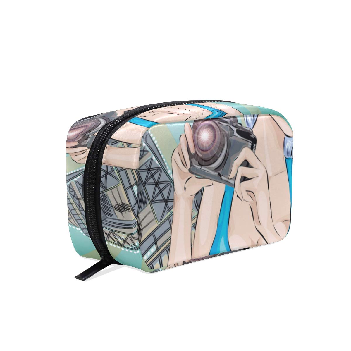 CIKYOWAY Cosmetic Bag for Women,Pinup Sexy Woman Takes Pictures On,Fashion Mini Girl Cosmetic Bag Travel Cases Portable Makeup Bags Personalized Custom Pattern