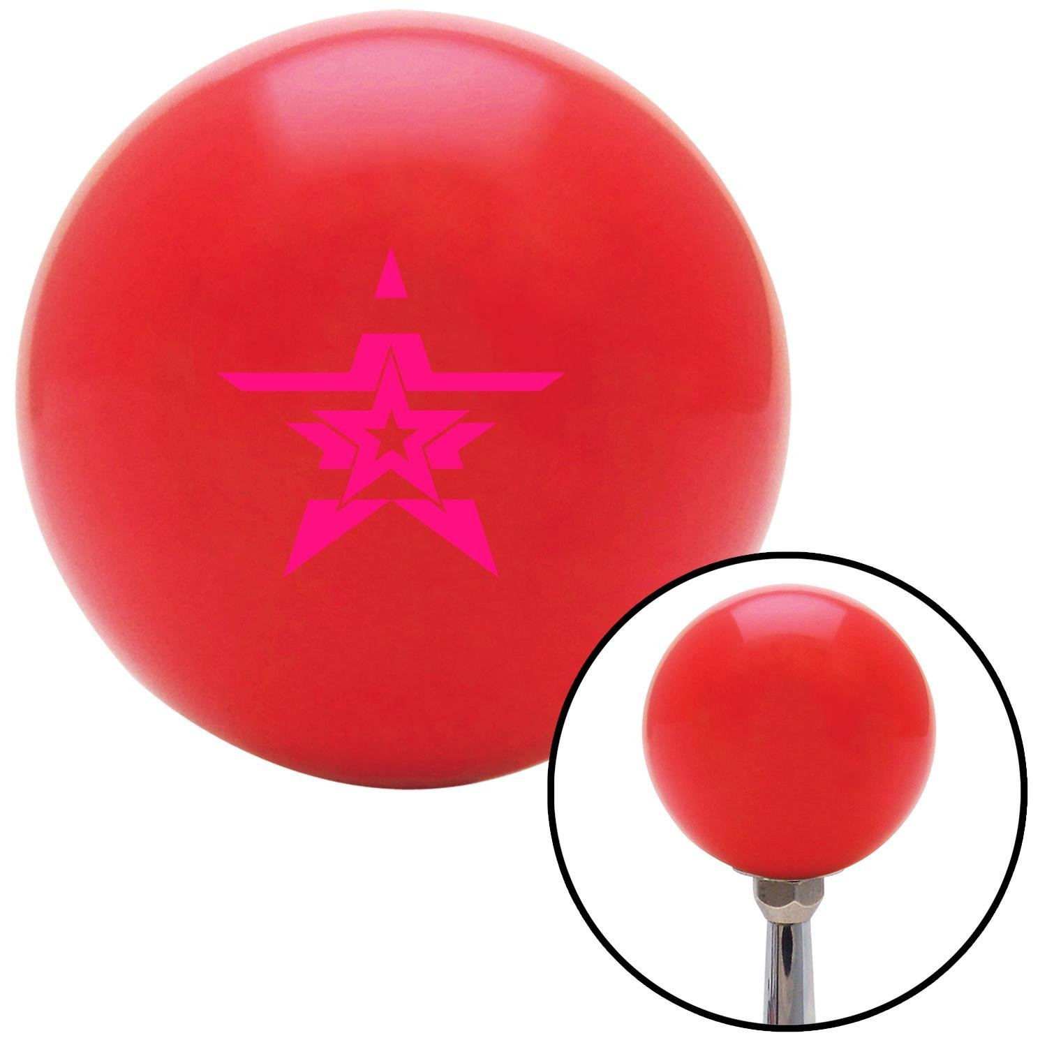Pink Star in a Star in a Star American Shifter 101424 Red Shift Knob with M16 x 1.5 Insert