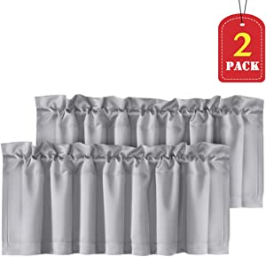 H.VERSAILTEX Home Decorative Thermal Insulated Valances for Windows Rod Pocket Room Darkening Curtain Valances for Bedroom/Foyer, 2 Pack, 52 inch x 18 inch, Dove Gray